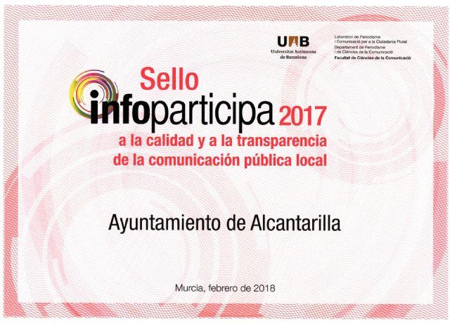 Alcantarilla renueva el SELLO INFOPARTICIPA 2017, junto a otros cinco ayuntamientos de la Región de Murcia, a la transparencia de la comunicación pública local - 4, Foto 4