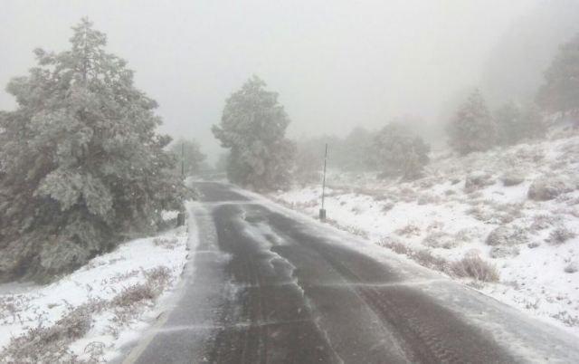 El temporal deja nieve en las cotas más altas del parque de Sierra Espuña, Foto 1