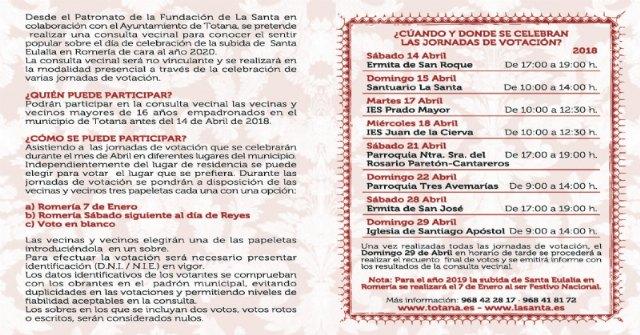 Se promueve una consulta vecinal para conocer el sentir popular sobre el día de celebración de la subida de La Santa en romería de cara al año 2020, Foto 2