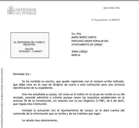 El Defensor del Pueblo admite a trámite la queja del PP de Lorquí sobre la no retransmisión de las sesiones plenarias a través de los medios públicos - 1, Foto 1