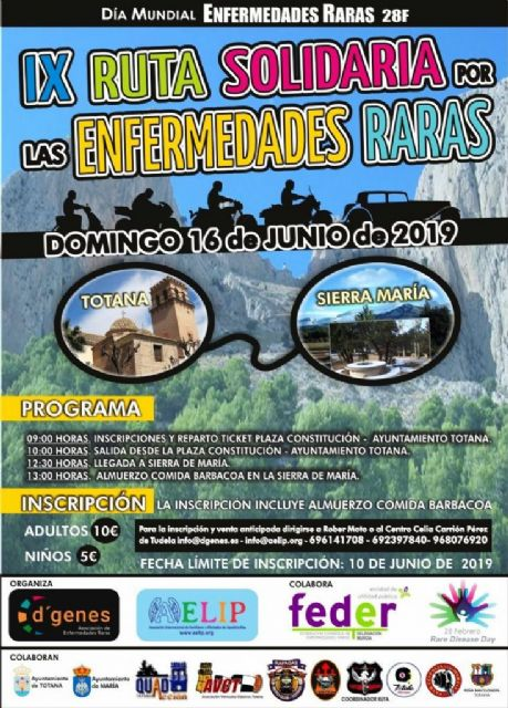 The IX Solidarity Route for Rare Diseases, between the municipalities of Totana and María, will be held on June 16