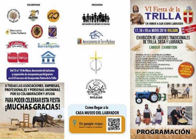 Roldán pone en valor nuestras tradiciones, patrimonio cultural, histórico y etnográfico con la celebración de La Fiesta de la Trilla los días 17, 18, y 19 de mayo - 3, Foto 3