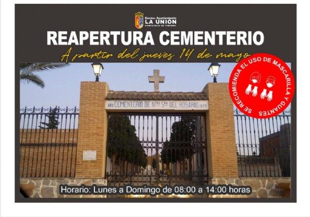Los cementerios de La Unión y Portmán, abrirán sus puertas a partir del jueves 14 de Mayo - 1, Foto 1
