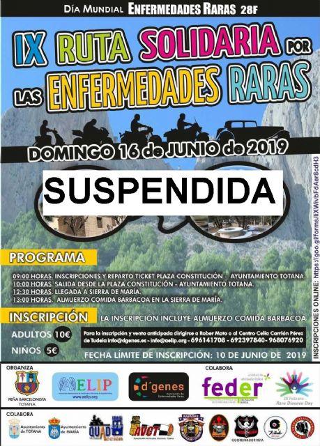 Se suspende la Ruta solidaria por las enfermedades raras que iba a tener lugar el próximo 16 de junio entre Totana y María, Foto 1
