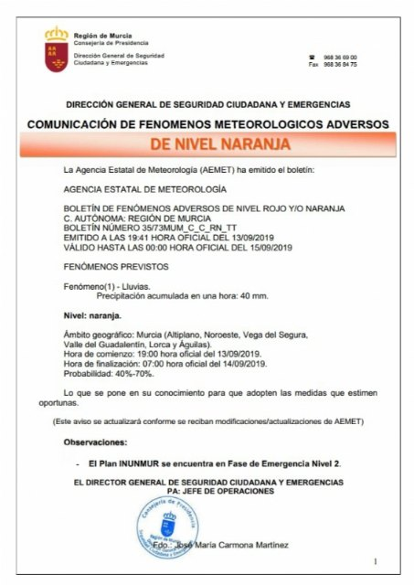 Aemet once again raises the alert in the Murcia region due to heavy rains of 40 l / m2 in one hour, Foto 2