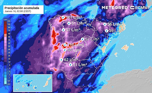 Acumulados de precipitación previstos por el modelo europeo hasta la madrugada del jueves. En el sistema Central se podrán acumular más de 100 litros por metro cuadrado., Foto 1
