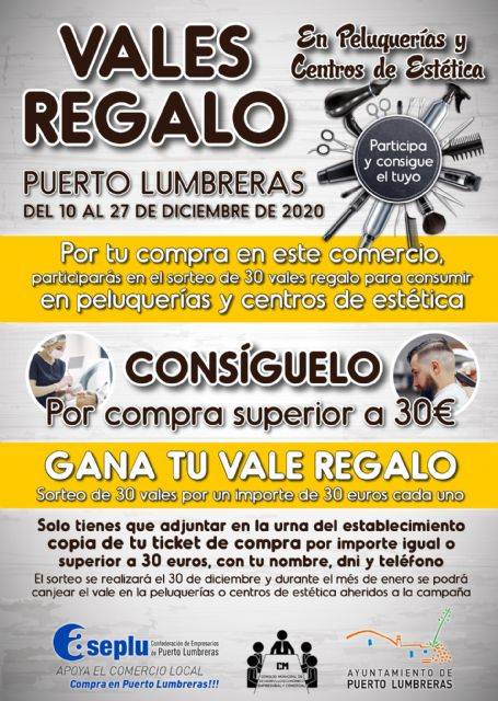 Puerto Lumbreras pone en marcha la campaña Vales Regalo para fomentar el consumo en comercios, peluquerías y centros de estética - 2, Foto 2