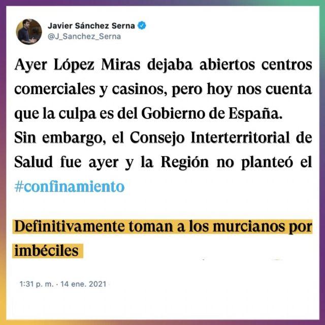 Javier Sánchez Serna: Definitivamente, López Miras está tomando a los murcianos por imbéciles - 1, Foto 1
