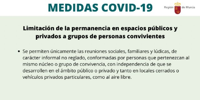 Publicada la orden de limitación de la permanencia en espacios públicos y privados a grupos de personas convivientes
