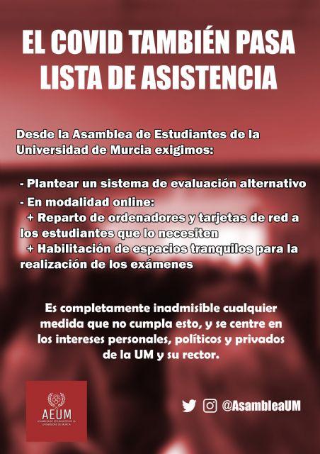 La Asamblea de Estudiantes de la Universidad de Murcia (AEUM) exige la modalidad no presencial para sus exámenes - 1, Foto 1