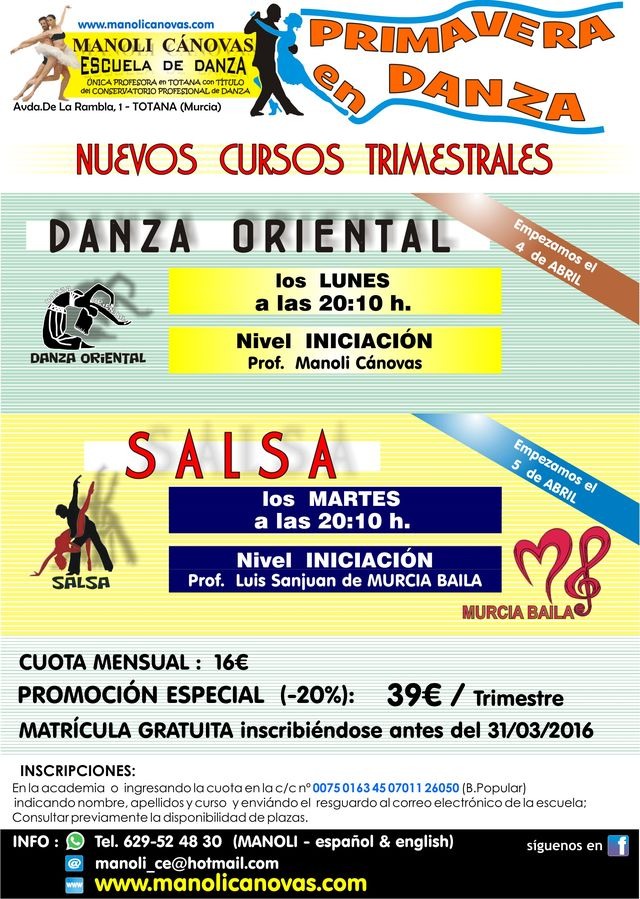 New courses of salsa and oriental dance at the School of Dance Manoli Canovas