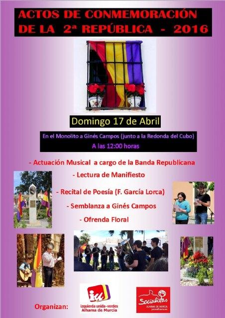 El próximo domingo se inician los actos del Día de la República en Alhama, Foto 2