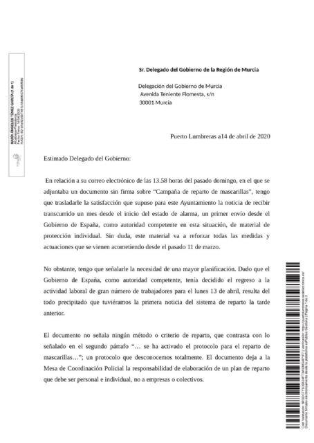 El Ayuntamiento de Puerto Lumbreras solicita 11.000 mascarillas a la Delegación del Gobierno para proteger a toda la población - 1, Foto 1