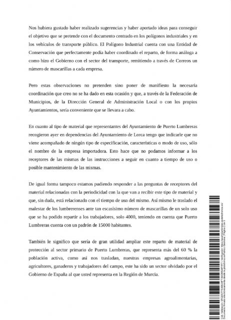 El Ayuntamiento de Puerto Lumbreras solicita 11.000 mascarillas a la Delegación del Gobierno para proteger a toda la población - 2, Foto 2