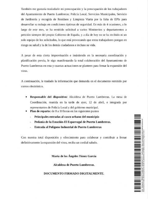 El Ayuntamiento de Puerto Lumbreras solicita 11.000 mascarillas a la Delegación del Gobierno para proteger a toda la población - 3, Foto 3