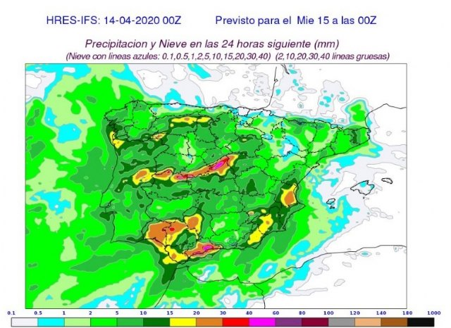 AEMET activates the yellow warning for rains in the Guadalentín Valley