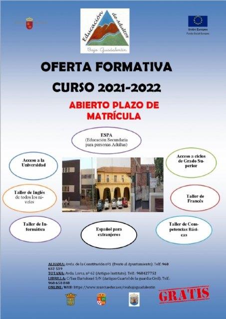 Abierto el plazo de matrícula para el curso 2021-2022 en el Centro de Educación de Adultos del Bajo Guadalentín, Foto 1
