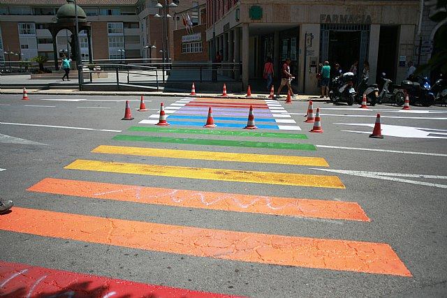 The refinishing of the pedestrian crossings with the colors of the rainbow flag in the Plaza de la Constitución to raise awareness of the rights of the LGTBI collective - 2