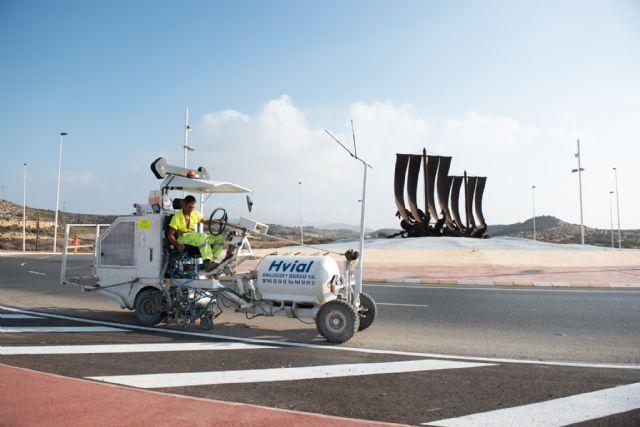 Fomento mejora la visibilidad y la señalización horizontal en la rm332 a su paso por Mazarrón - 1, Foto 1