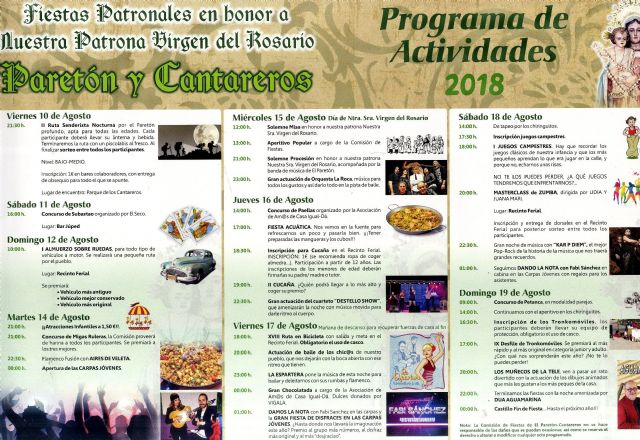 The main activities of the Paretón-Cantareros patron festivities program begin in honor of the Virgen del Rosario