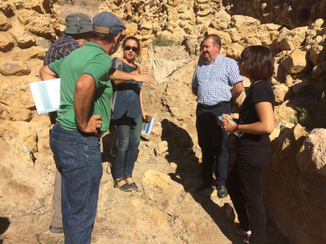 Técnicos de Patrimonio Histórico de la Comunidad Autónoma evalúan el estado de la muralla del yacimiento arqueológico de La Bastida - 4, Foto 4