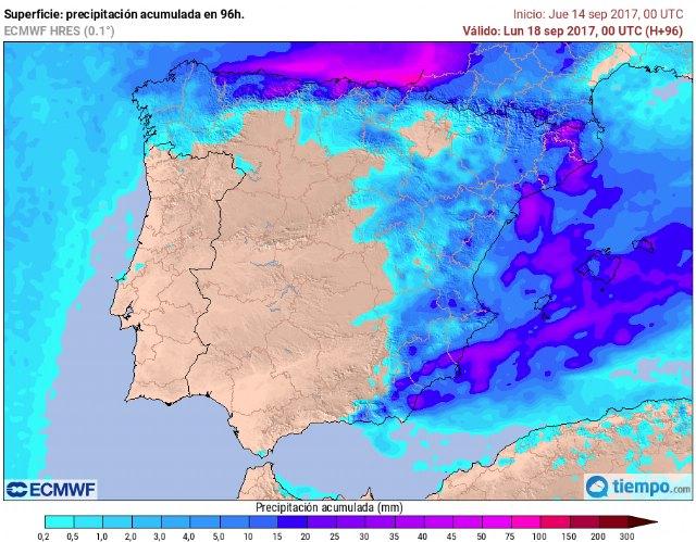 Precipitaciones esperables según el modelo europeo entre el viernes y el sábado. Son estimaciones., Foto 1