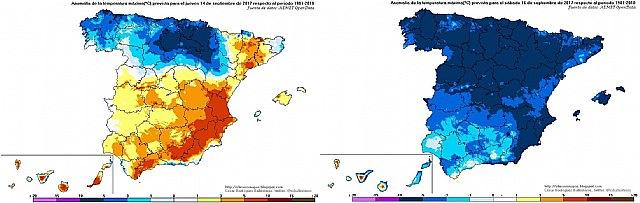 Gran diferencia en la anomalía de las temperaturas máximas entre hoy y el sábado. Hoy las temperaturas han estado muy por encima de los valores medios en el sureste y el sábado estarán muy por debajo. Este día, las temperaturas en toda España estarán por debajo de la media., Foto 2