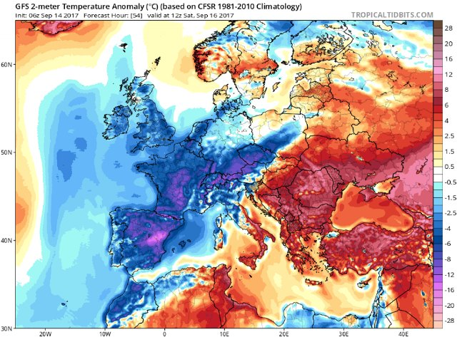 n este mapa apreciamos que el sábado a mediodía las temperaturas en toda Europa Occidental estarán muy por debajo de los valores medios (España, Portugal, Francia, Reino Unido, Bélgica, Holanda, Suiza, etc.). Pero con especial incidencia en el centro y este de España., Foto 3