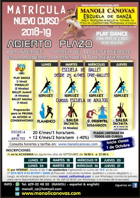 La Escuela de Danza Manoli Cánovas abre el plazo de matrícula para el curso 2018/19, Foto 1