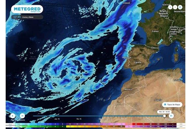 El primer frente con lluvias intensas llegando el martes, asociado a la borrasca atlántica., Foto 1