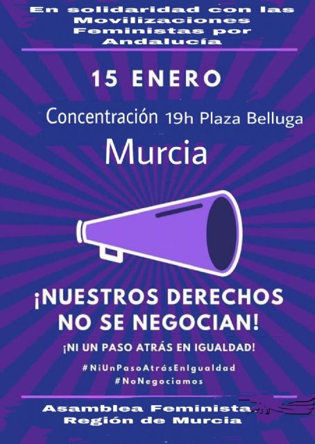 La Concejalía de Igualdad apoya la concentración convocada hoy en la plaza Belluga de Murcia