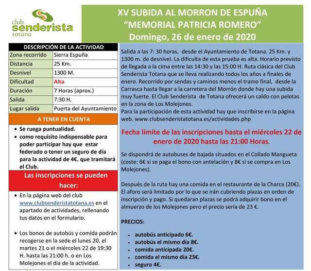 """The XV Climb to the Morrón de Espuña """"Memorial Patricia Romero"""" will take place on Sunday, January 26, Foto 3"""