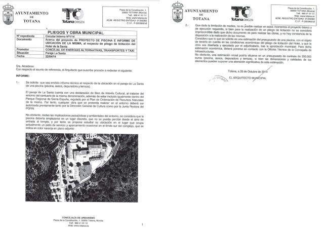 Juan José Cánovas miente al adjudicarse el merito de la construcción de la piscina del hotel de la Santa