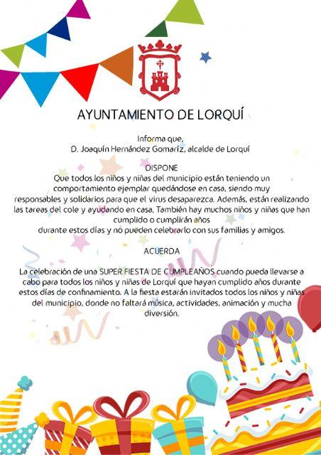 El Ayuntamiento de Lorquí organizará una gran fiesta de cumpleaños para los niños y niñas que no hayan podido celebrarlo - 1, Foto 1