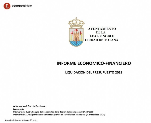 They publish the Economic-Financial Report of the City of Totana, as of December 2018 - 1