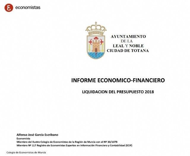 Publican el Informe Económico-Financiero del Ayuntamiento de Totana, a fecha de diciembre del 2018, Foto 1