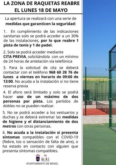 La Zona de Raquetas abre el lunes 18 de mayo - 1, Foto 1