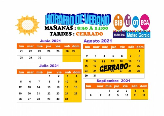 """[Arranca este lunes 21 de junio el nuevo horario de verano de la Biblioteca Municipal """"Mateo García"""""""