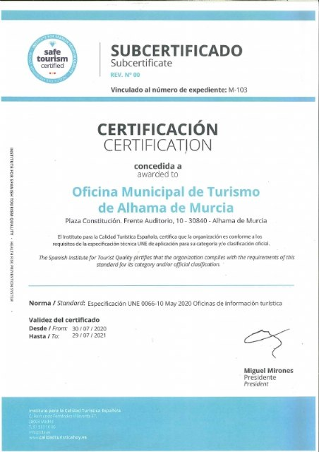 La oficina de turismo de Alhama obtiene el certificado ´Safe Tourism Certified´ - 1, Foto 1