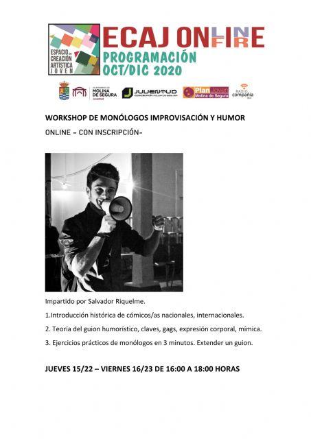 La Concejalía de Juventud de Molina de Segura pone en marcha hoy jueves 15 de octubre la formación Workshop: Monólogos, Humor e Improvisación - 1, Foto 1