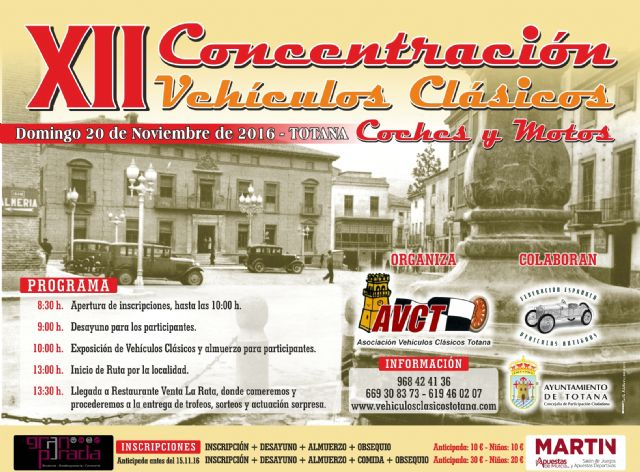 "The XII Concentration of Classical Vehicles ""City of Totana"" is celebrated this Sunday, November 20, in the place of the Constitution"