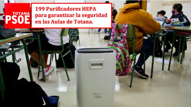 [HEPA filters and masks reach the classrooms of Totana thanks to the proposals of the Socialist Group