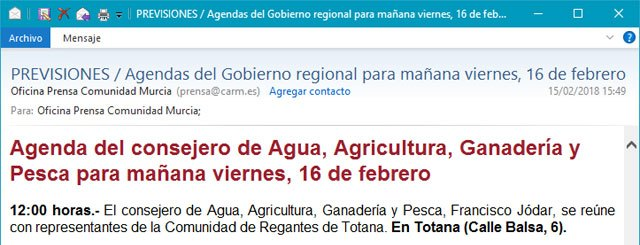 """The mayor regrets the gesture of """"institutional disloyalty"""" of the Minister of Water and Agriculture"""