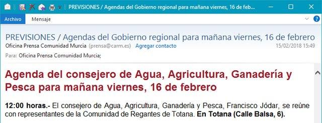 El alcalde lamenta el gesto de deslealtad institucional del consejero de Agua y Agricultura, Foto 1