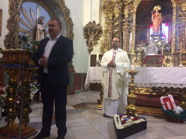 Municipal authorities attend the ceremony of the Floral Offering of the Bases of the Olympic Club of Totana, in the sanctuary to the Patron Saint, Santa Eulalia de Mérida - 5