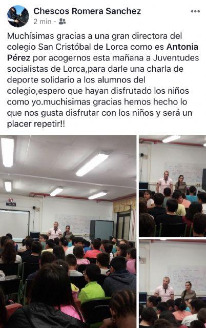 Indignación ante la publicación en RRSS de charlas impartidas por Juventudes Socialistas, plataforma juvenil del PSOE lorquino, en un colegio local - 1, Foto 1