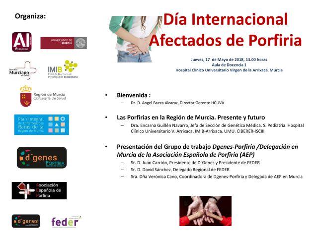 El Hospital Clínico Universitario Virgen de la Arrixaca de Murcia acogerá mañana un acto informativo sobre la porfiria en el que se presentará el grupo de trabajo de esta patología constituido por D´Genes - 1, Foto 1