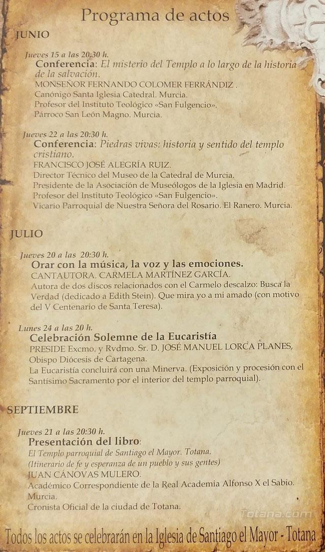 Arrancan las actividades que conforman el 450 aniversario de la dedicación del templo parroquial de Santiago con la Conferencia El misterio del Templo a lo largo de la historia de la salvación, Foto 5