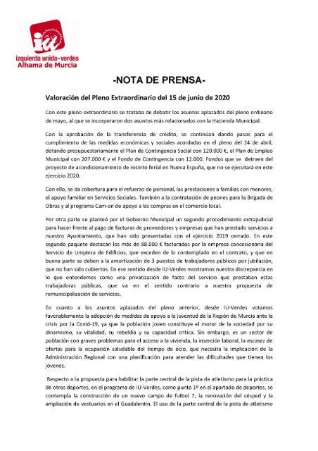 Valoración del Pleno Extraordinario del 15 de junio de 2020. IU-Verdes Alhama - 1, Foto 1