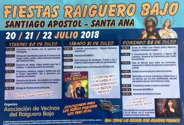 Las fiestas del Raiguero Bajo, en honor de Santiago Apóstol y Santa Ana, se celebran el próximo fin de semana del 20 al 22 de julio - 1, Foto 1